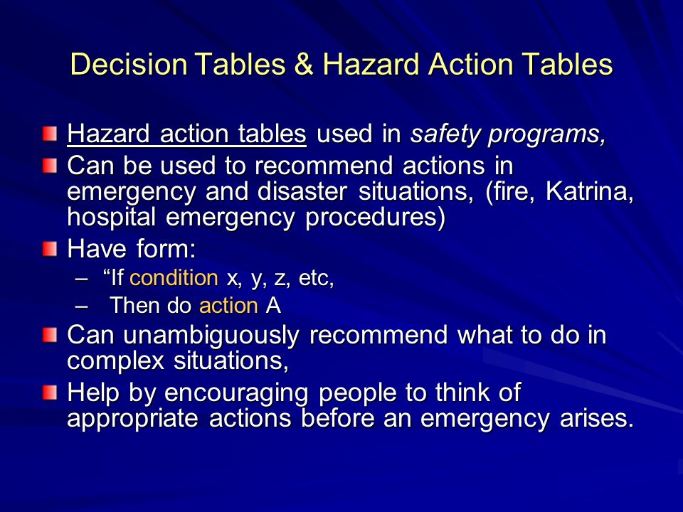 Decision Tables & Hazard Action Tables