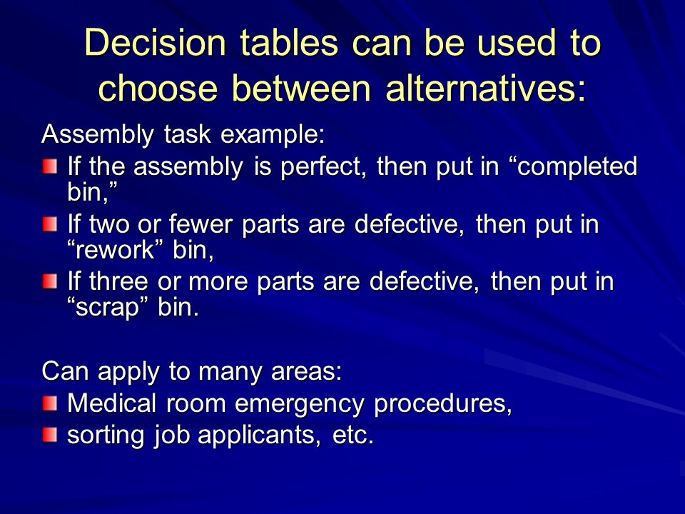 Decision tables can be used to choose between alternatives: