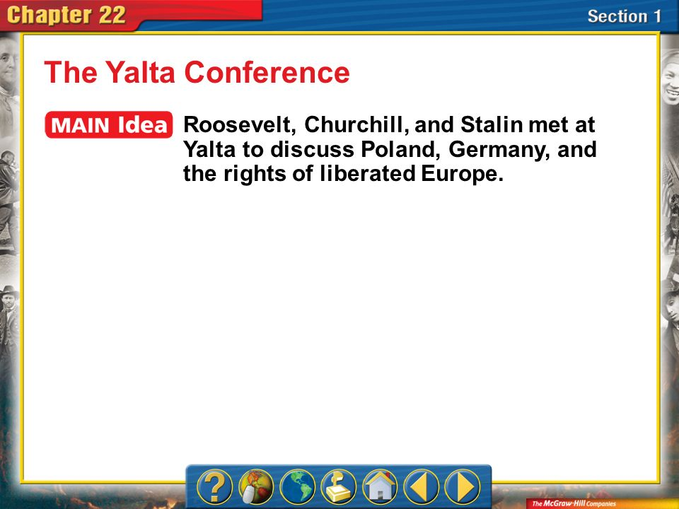 The Yalta Conference Roosevelt, Churchill, and Stalin met at Yalta to discuss Poland, Germany, and the rights of liberated Europe.