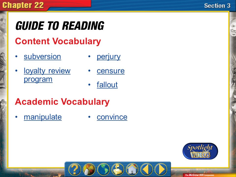Content Vocabulary Academic Vocabulary subversion