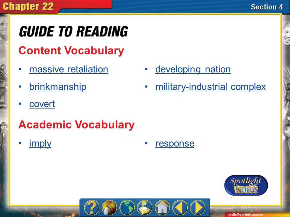 Content Vocabulary Academic Vocabulary massive retaliation