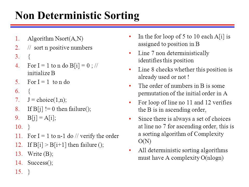 Non Deterministic Sorting
