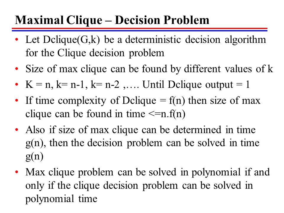 Maximal Clique – Decision Problem