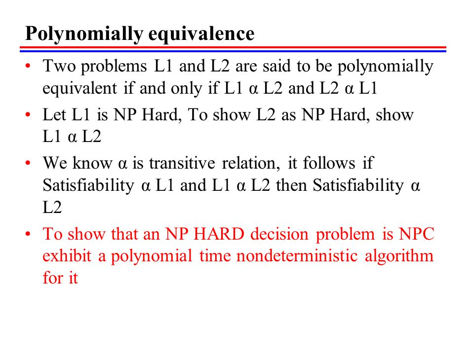 Polynomially equivalence