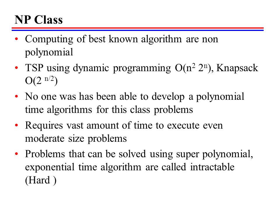 NP Class Computing of best known algorithm are non polynomial