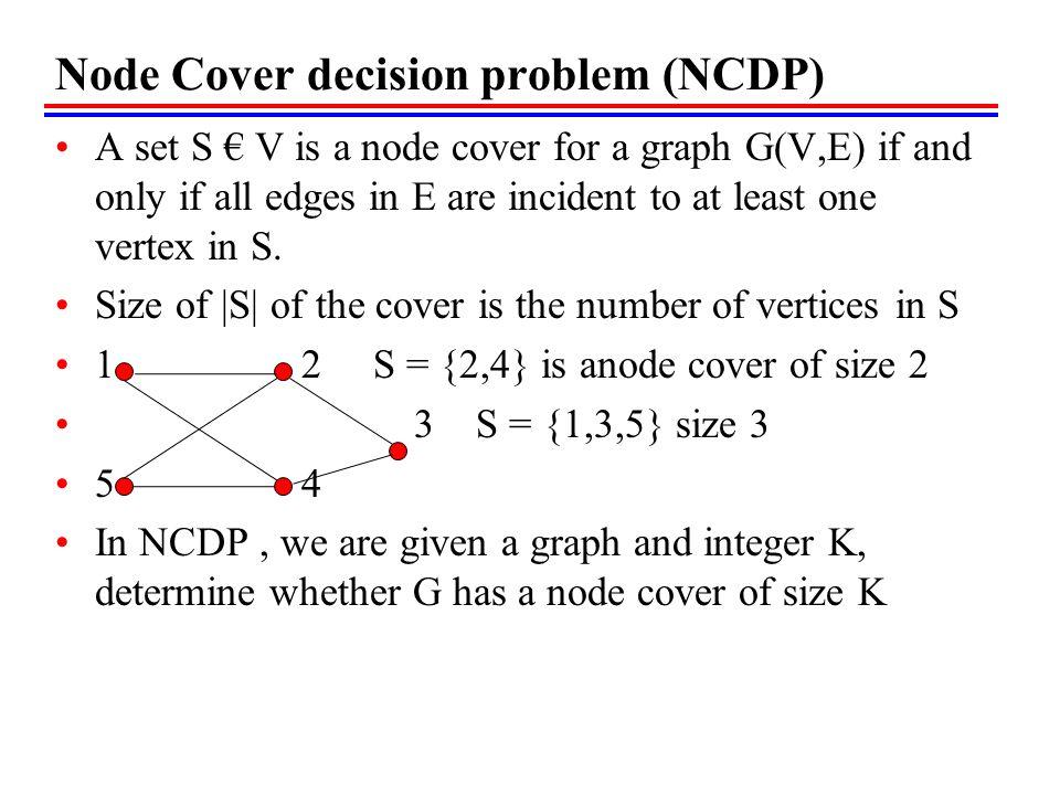 Node Cover decision problem (NCDP)