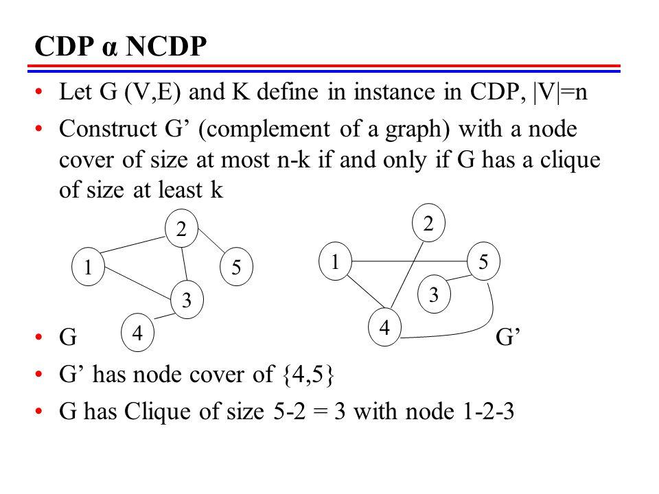 CDP α NCDP Let G (V,E) and K define in instance in CDP, |V|=n