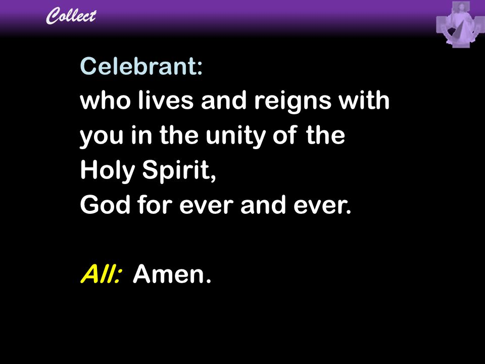 who lives and reigns with you in the unity of the Holy Spirit,
