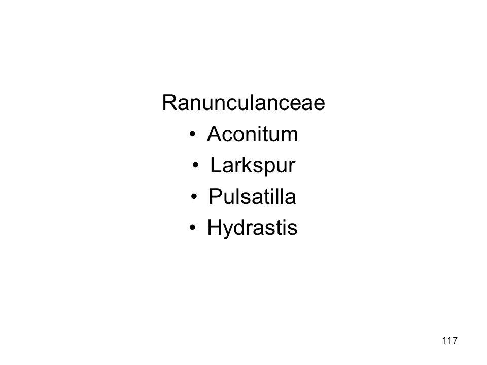 Ranunculanceae Aconitum Larkspur Pulsatilla Hydrastis