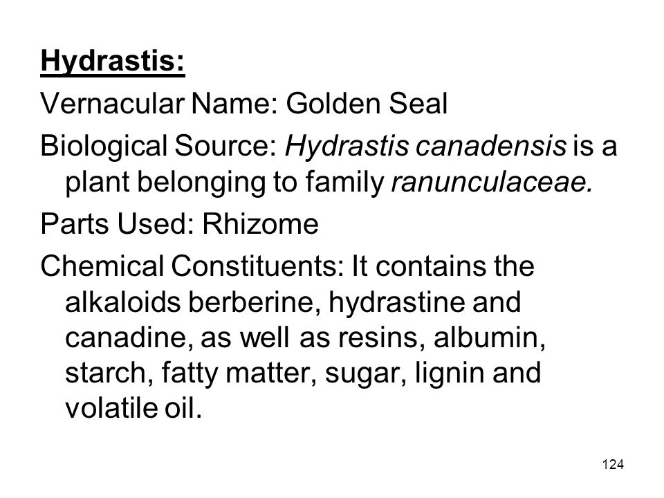 Hydrastis: Vernacular Name: Golden Seal. Biological Source: Hydrastis canadensis is a plant belonging to family ranunculaceae.