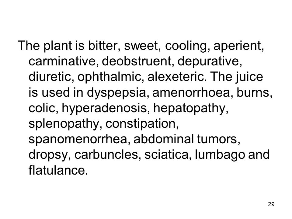 The plant is bitter, sweet, cooling, aperient, carminative, deobstruent, depurative, diuretic, ophthalmic, alexeteric.