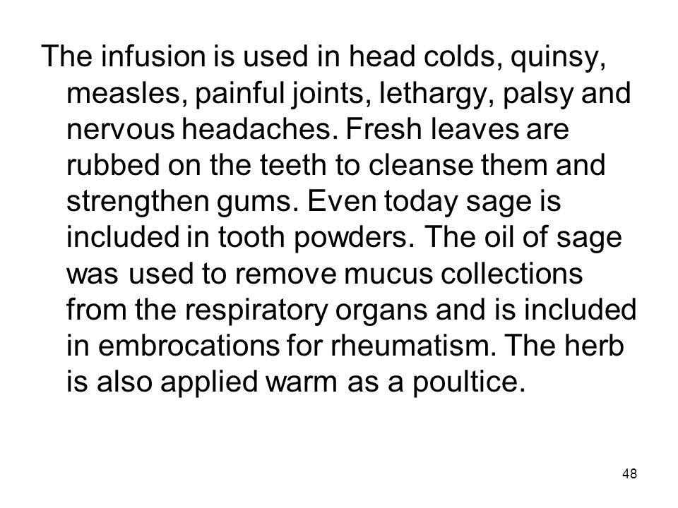 The infusion is used in head colds, quinsy, measles, painful joints, lethargy, palsy and nervous headaches.