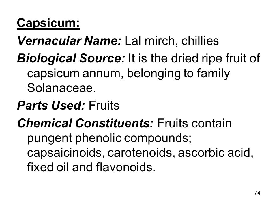 Capsicum: Vernacular Name: Lal mirch, chillies. Biological Source: It is the dried ripe fruit of capsicum annum, belonging to family Solanaceae.