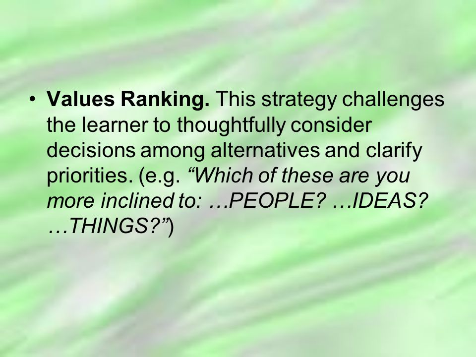 Values Ranking.