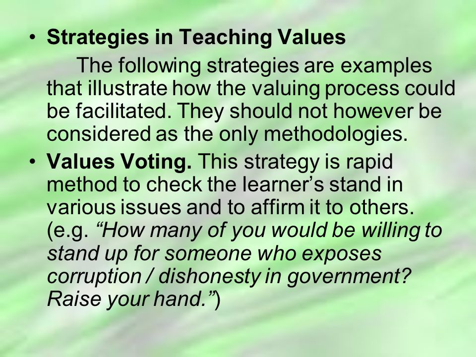 Strategies in Teaching Values