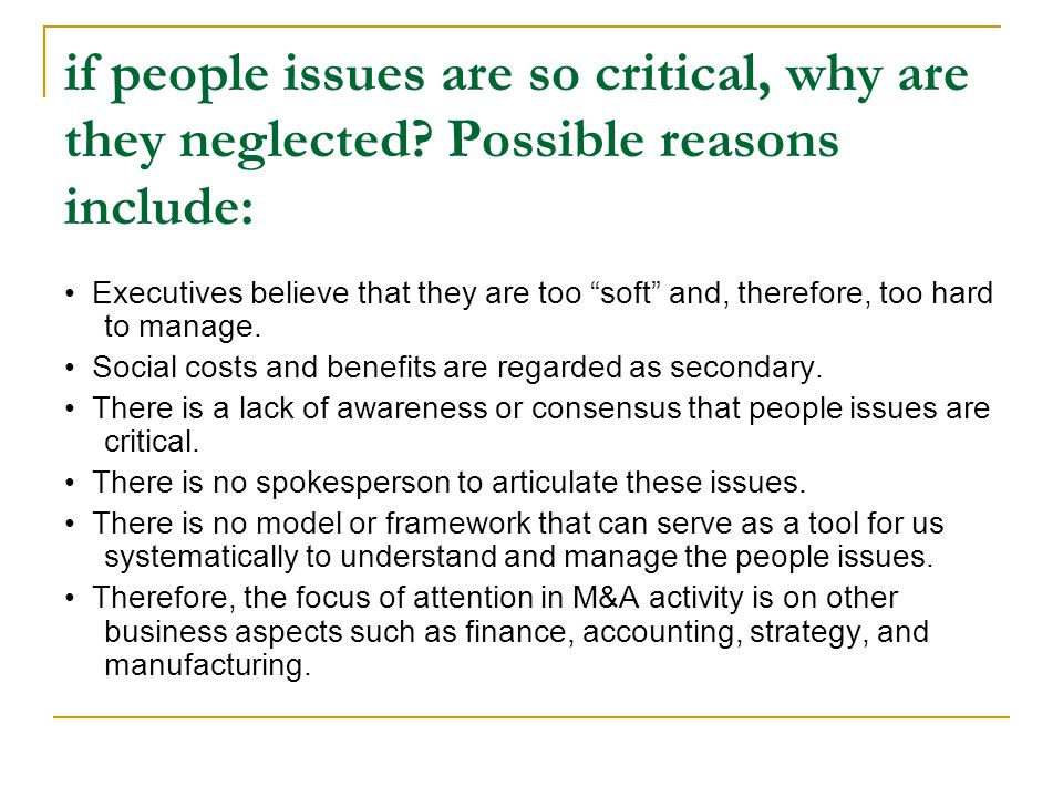 if people issues are so critical, why are they neglected