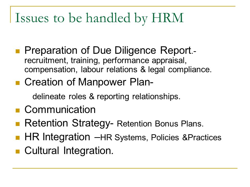 Issues to be handled by HRM