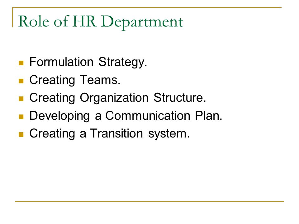 Role of HR Department Formulation Strategy. Creating Teams.