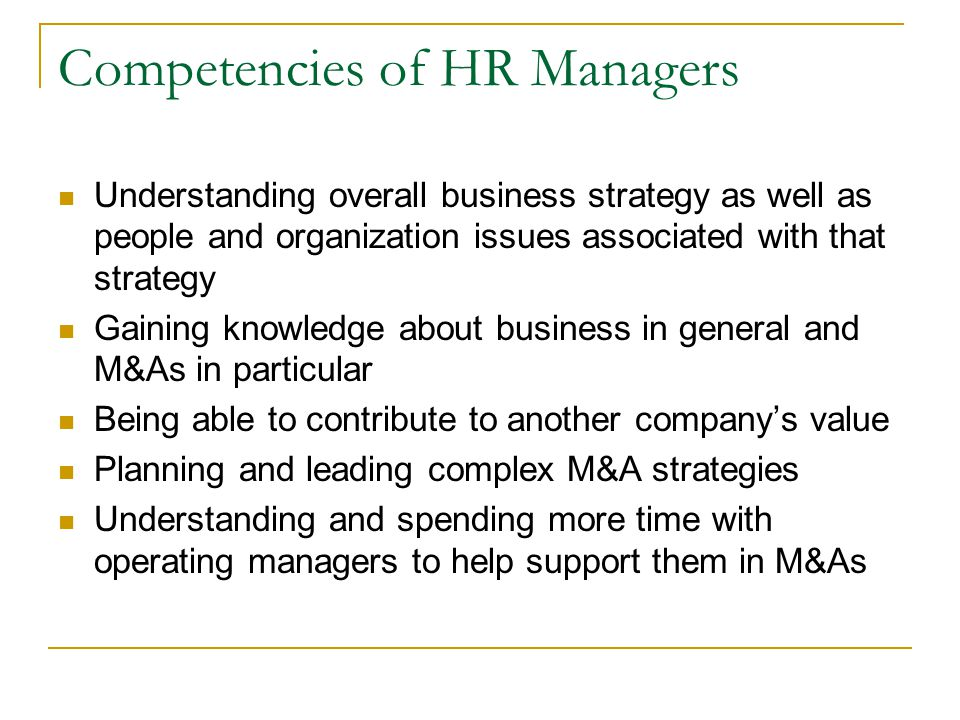 Competencies of HR Managers
