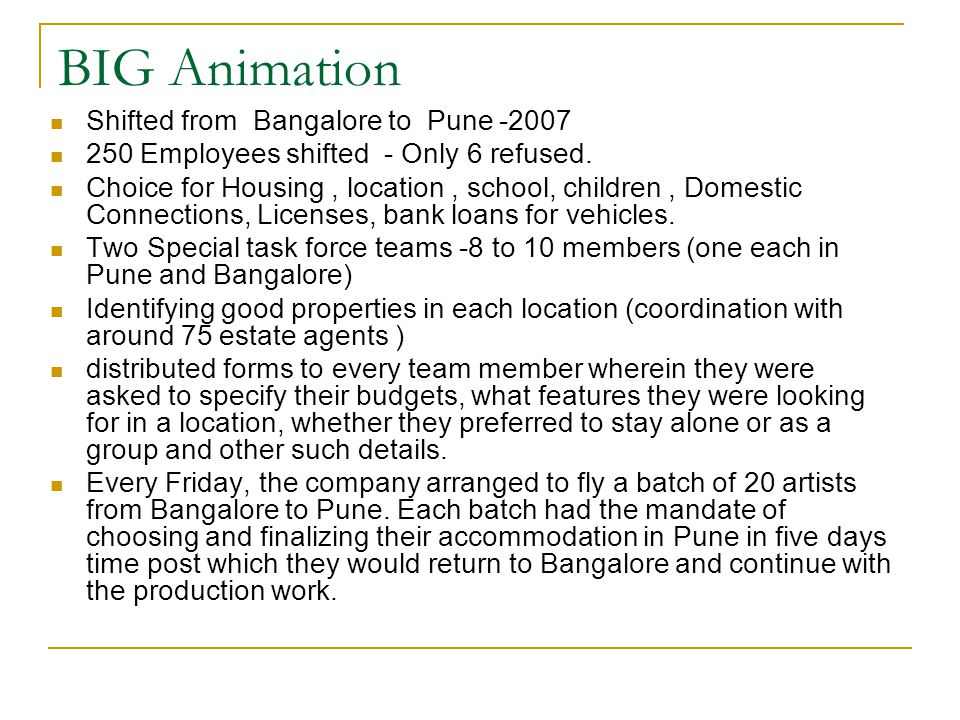 BIG Animation Shifted from Bangalore to Pune -2007