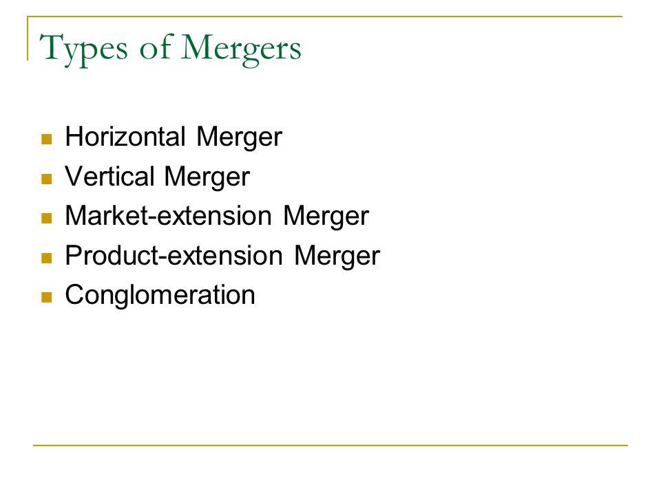 Types of Mergers Horizontal Merger Vertical Merger
