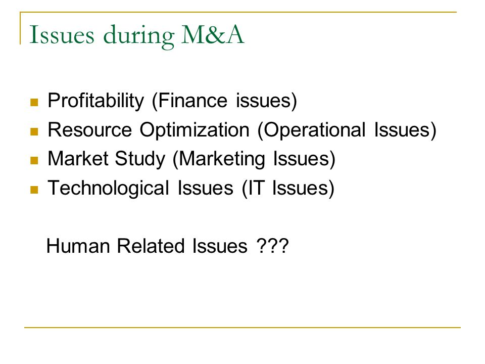 Issues during M&A Profitability (Finance issues)