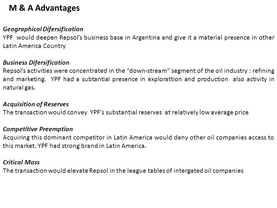 M & A Advantages Geographical Difersification