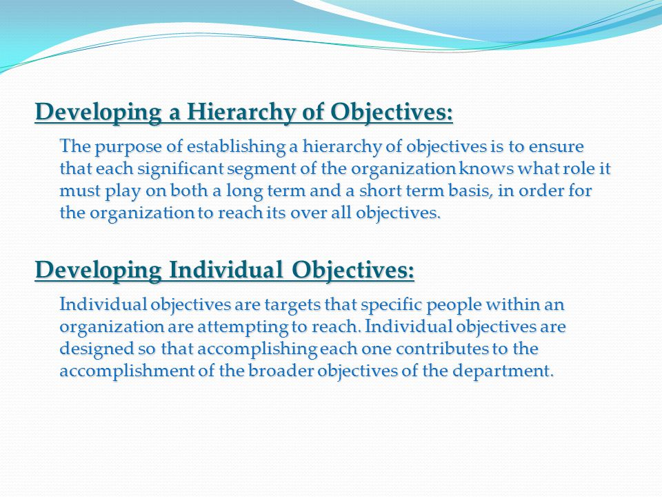 Developing a Hierarchy of Objectives: The purpose of establishing a hierarchy of objectives is to ensure that each significant segment of the organization knows what role it must play on both a long term and a short term basis, in order for the organization to reach its over all objectives.