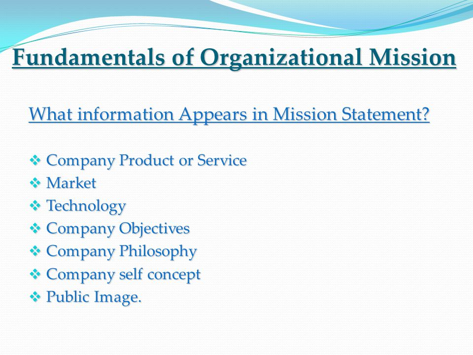 Fundamentals of Organizational Mission