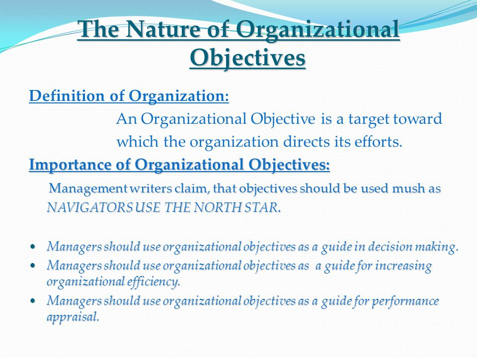 The Nature of Organizational Objectives