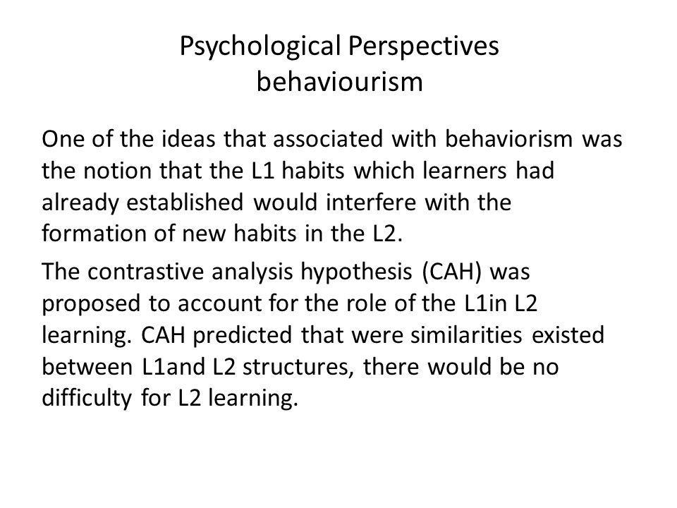 Psychological Perspectives behaviourism