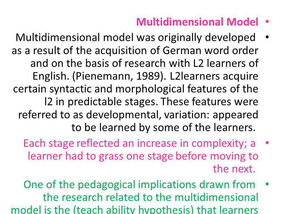 Multidimensional Model