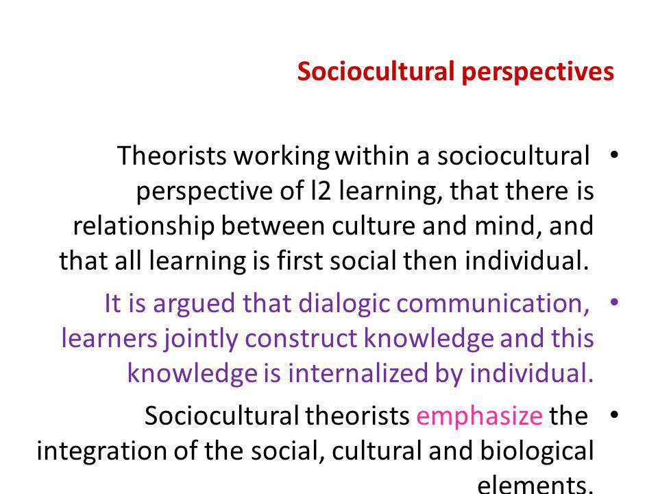 Sociocultural perspectives