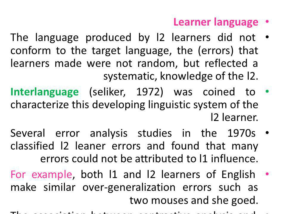 Learner language