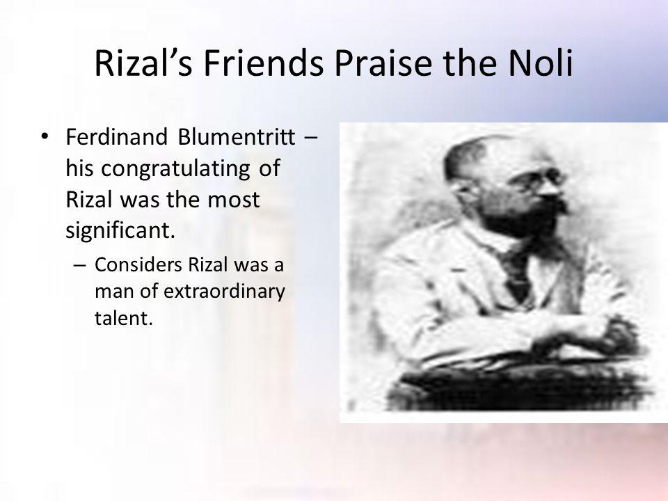 Rizal's Friends Praise the Noli