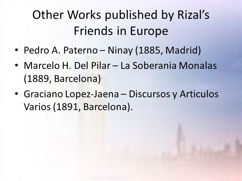 Other Works published by Rizal's Friends in Europe
