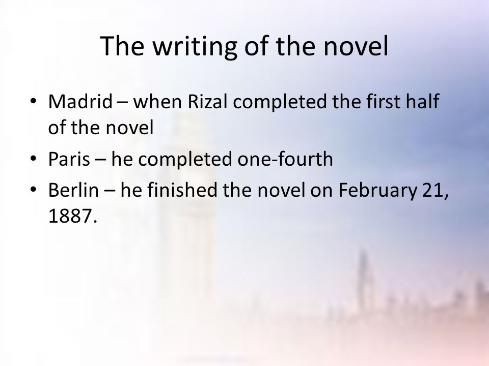 The writing of the novel