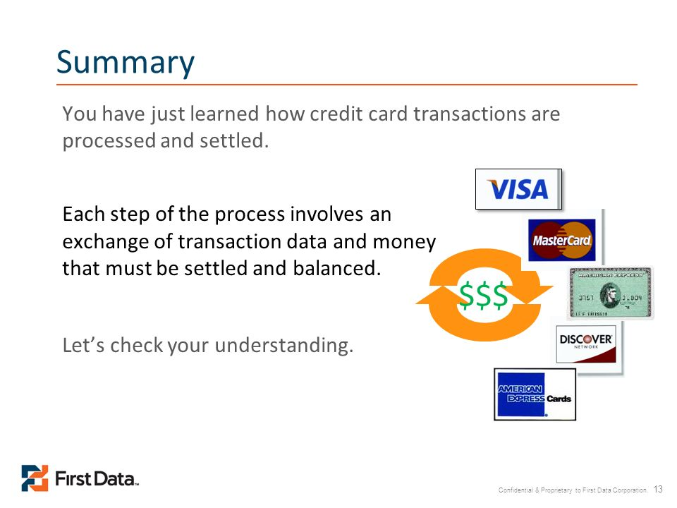Summary You have just learned how credit card transactions are processed and settled.