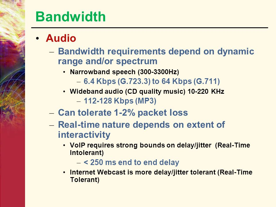 Bandwidth Audio. Bandwidth requirements depend on dynamic range and/or spectrum. Narrowband speech (300-3300Hz)