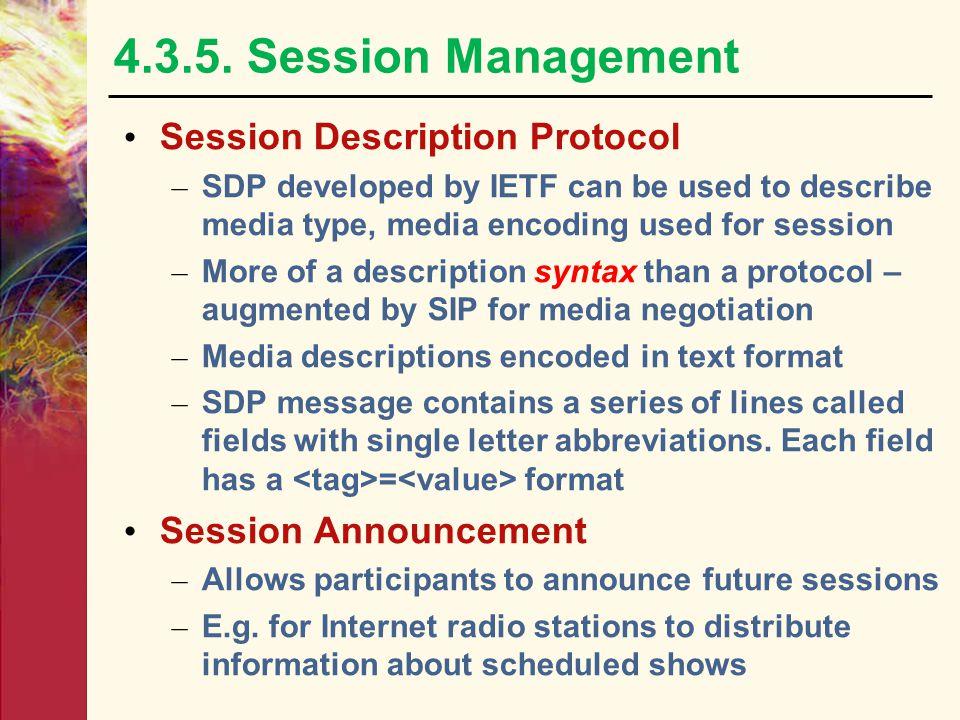 4.3.5. Session Management Session Description Protocol