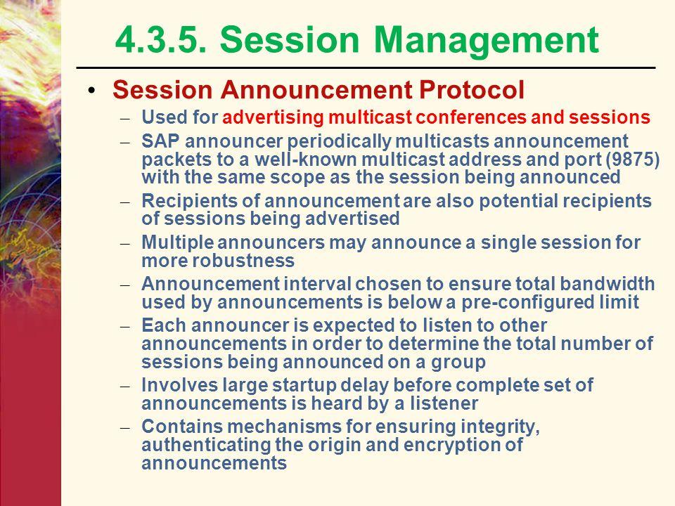 4.3.5. Session Management Session Announcement Protocol
