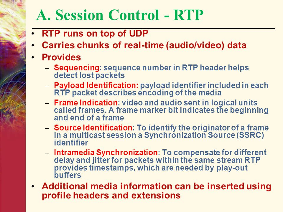 A. Session Control - RTP RTP runs on top of UDP