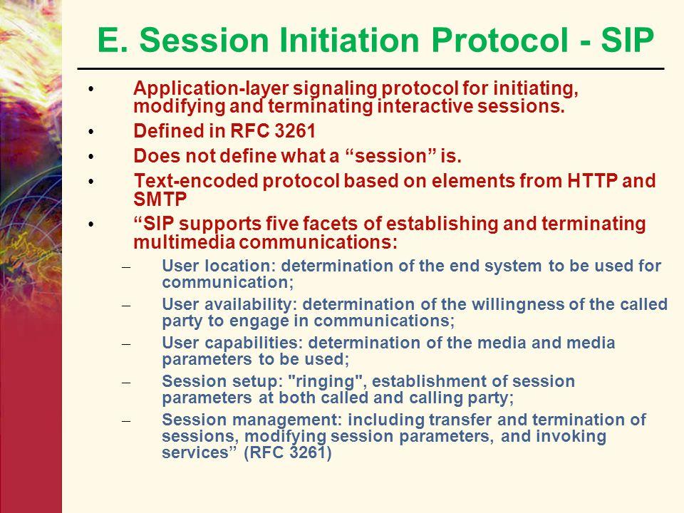 E. Session Initiation Protocol - SIP