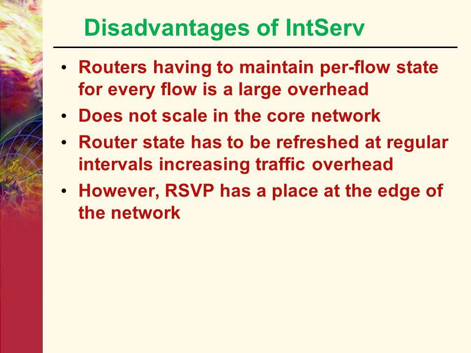 Disadvantages of IntServ