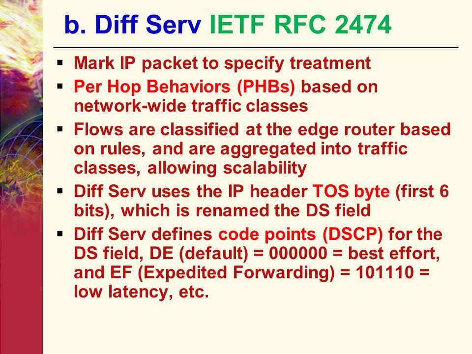 b. Diff Serv IETF RFC 2474 Mark IP packet to specify treatment