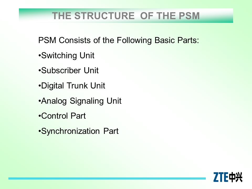 THE STRUCTURE OF THE PSM