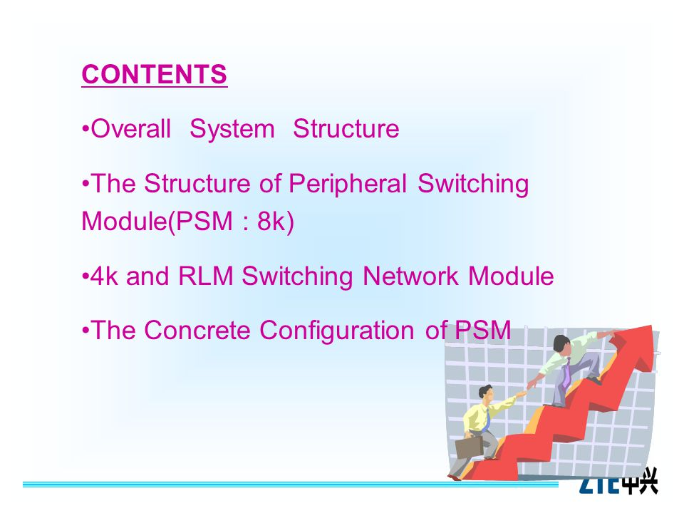 CONTENTS Overall System Structure. The Structure of Peripheral Switching Module(PSM : 8k) 4k and RLM Switching Network Module.
