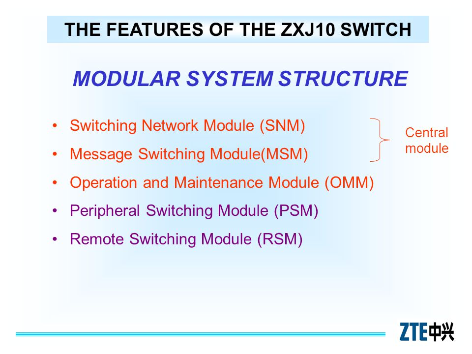 THE FEATURES OF THE ZXJ10 SWITCH MODULAR SYSTEM STRUCTURE