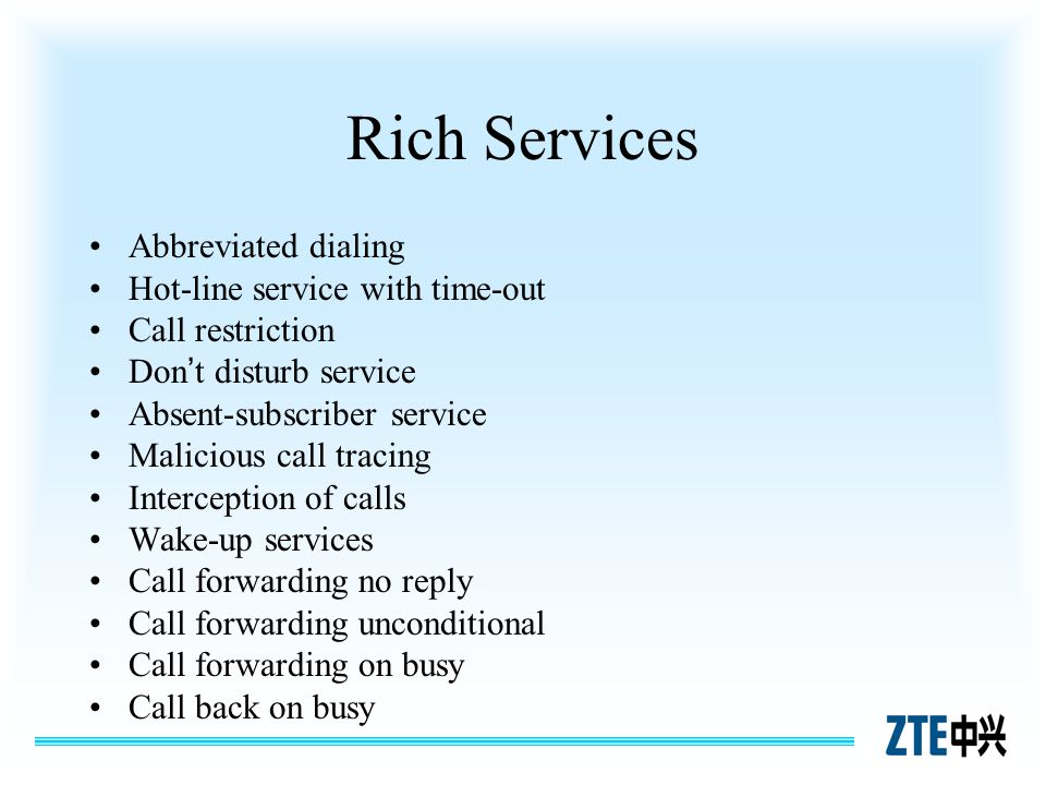 Rich Services Abbreviated dialing Hot-line service with time-out