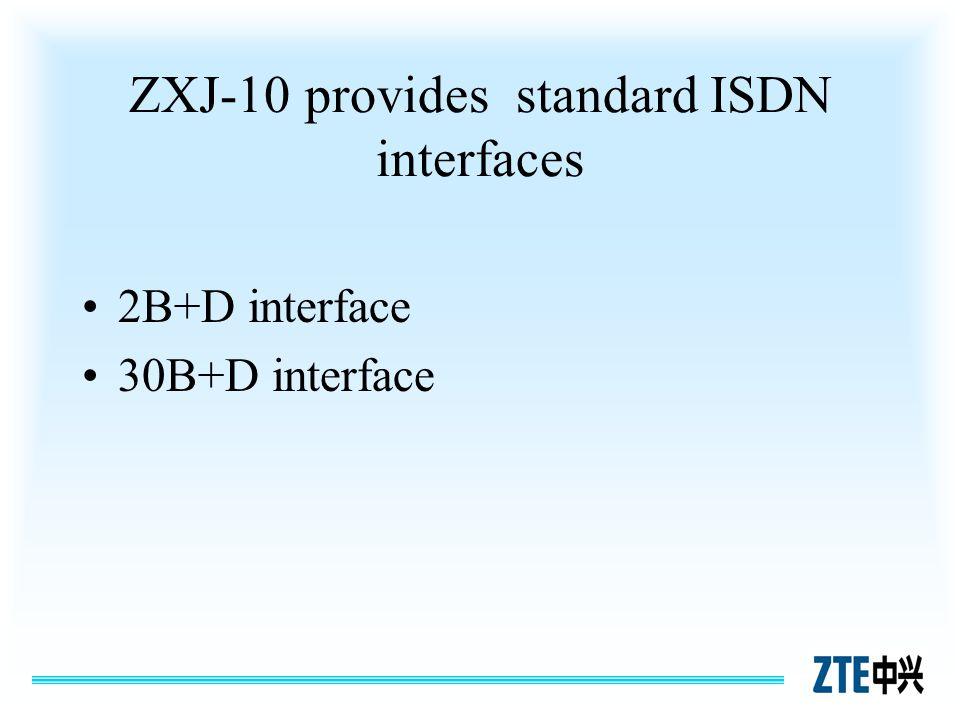 ZXJ-10 provides standard ISDN interfaces